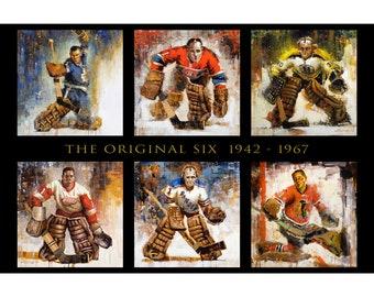 Original Six Hockey Wall Art Poster or Metal Print of Original Paintings - NHL Original 6 - Goalies - Goaltenders - Hockey Gift - Horizontal