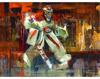 Carey Price Poster or Metal Print from Original Painting - Montreal Canadiens Wall Art Decor - Hockey Goalie - Gift - The Habs - Unframed