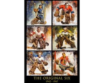 Original Six Hockey Poster or Metal Print from Original Paintings - Hockey Wall Art Decor - Goalie - Gift - NHL - Vertical - Unframed