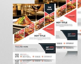 printable restaurant flyer template flyer template flyer etsy