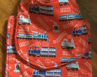 Red Train Set of 2 Bibs and 1 Burp Cloth
