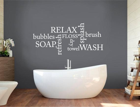 bathroom wall decor words bathroom decals bathroom wall etsy rh etsy com wallpaper with words for bathroom Word Wall Art for Bathroom