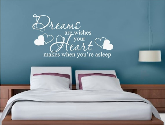 Dreams are wishes wall sticker, dream wall sticker quotes, dream wall  decal, dreams are wishes quote wall decal, bedroom wall stickers