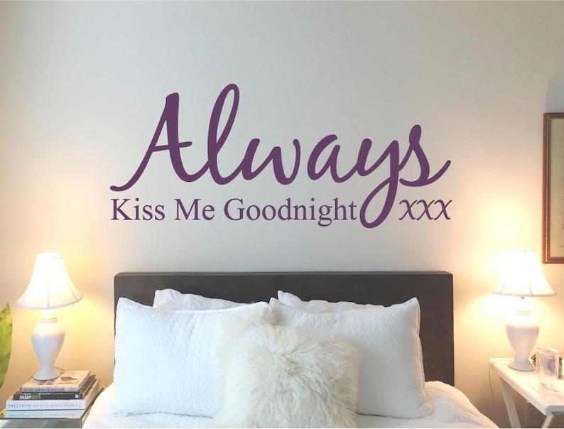 Küss mich immer gute Nacht Wandtattoo, Küss mich gute Nacht Wandtattoo,  Küss mich immer gute Nacht Wandtattoo, Wandaufkleber Schlafzimmer