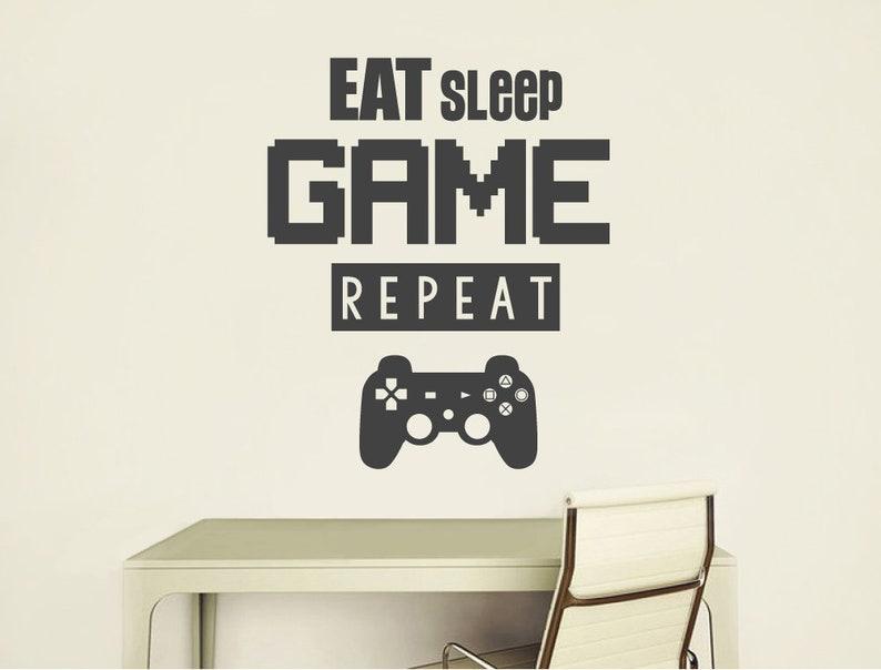eat sleep game gamer wall decal gamer wall art gaming wall | etsy