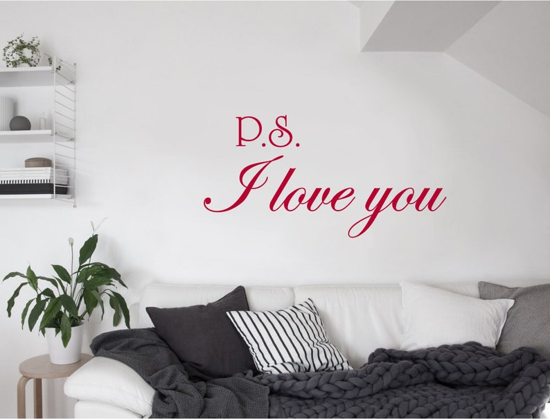 PS I Love You Wall Mural Decal Quote Sticker Room Home Vinyl Art Decoration UK