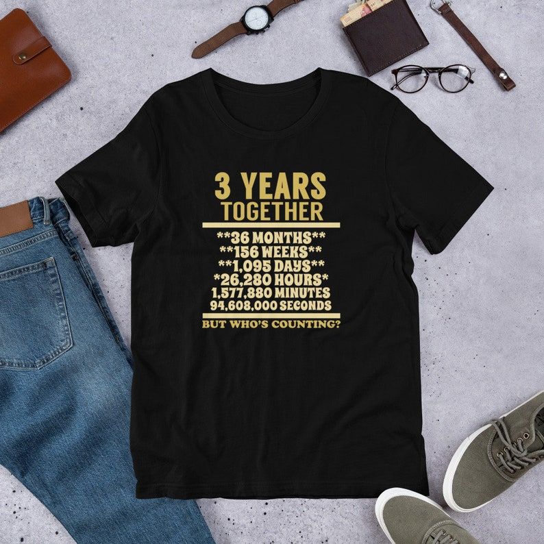 45204faa0e Adult Unisex 3 Year Anniversary T Shirt 3rd Wedding Gift | Etsy