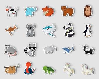 "Large 1"" Sticker Pack, Turtle Stickers, Raccoon Stickers, Grizzly Bear Stickers, Unicorn Sticker, Cute Snake Sticker, Best Friend Gift"