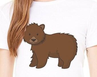 dfe249478b Grizzly Bear - Funny Animal Ladies Short Sleeved T-Shirt, Plus Size,  Woman's T-Shirt, Meme T-Shirt, Plus Size T-Shirt, Forest Animals