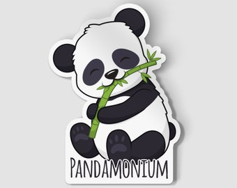 "2"" Pandamonium Vinyl Die Cut Sticker, Cute Panda, Happy Panda, Animal Sticker, 2 Inch Sticker, Laptop Decal, Vinyl Car Decal"