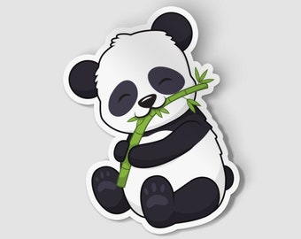 "2"" Panda Vinyl Die Cut Sticker, Cute Panda, Happy Panda, Animal Sticker, 2 Inch Sticker, Laptop Decal, Vinyl Car Decal"