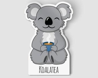"""2"""" Koalatea Vinyl Die Cut Sticker, Australian Wildlife Sticker, Happy Koala, Adorable Koala Vinyl Decal, Best Friend Gift"""
