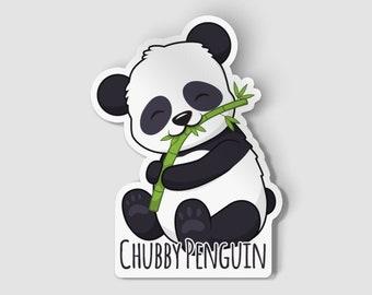 "2"" Chubby Penguin Panda Vinyl Die Cut Sticker, Cute Panda, Happy Panda, Animal Sticker, 2 Inch Sticker, Laptop Decal, Vinyl Car Decal"
