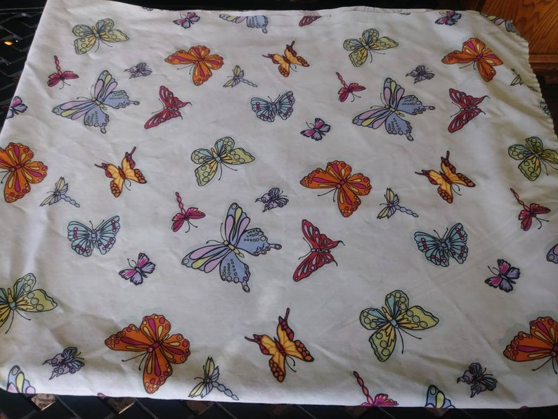 Vintage Twin Size Flat Sheet With Light Blue Background and Colorful Butterflies