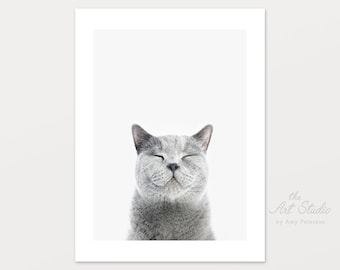 Happy Cat Smiling Printable Nursery Art by Amy Peterson