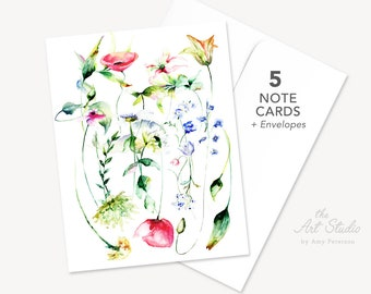 5 Note Cards & Envelopes, Spring Flowers Note Card, Wild Flowers Note Card, Envelope and Notecard Set of 5