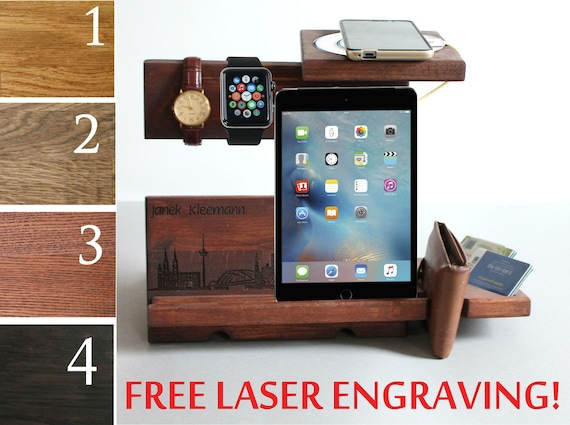 Personalized Wireless Charger Wooden Wireless Docking Station Men Wireless Charging Station for iPhone X XR Xs Max Samsung Galaxy QI