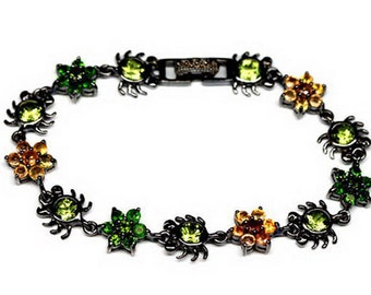 Bugs Gemstone Bracelet, Songea Sapphire Bracelet, Chome Diopside and Chrysolite Jewelry with Black Rhodium Plating