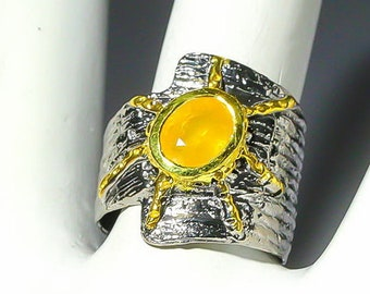 Sun Yellow Sapphire Ring Black Rhodium Silver Jewellery Boho Ring of 925 Silver Songea Sapphire Jewerly Primitivism Sun Ring in Indian Style