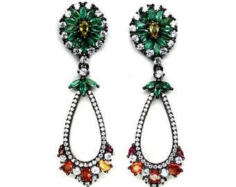 Emerald Drop Earrings, Songea Sapphire Silver Earrings, 925 Sterling Silver, Jewellery with Gemstones, Hanging Earrings in Black Rhodium
