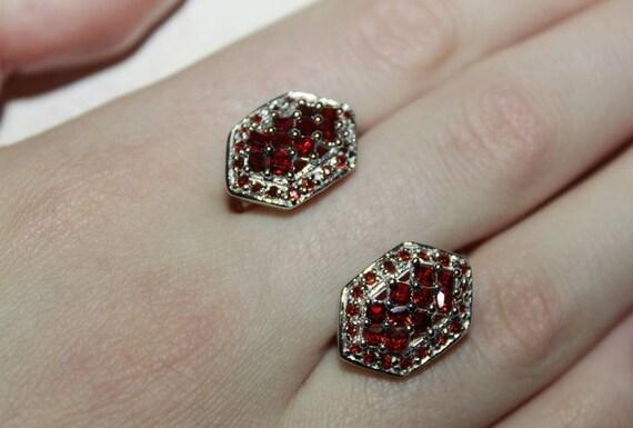 Hexagon Garnet Earrings Pyrope Silver Earrings Small Etsy