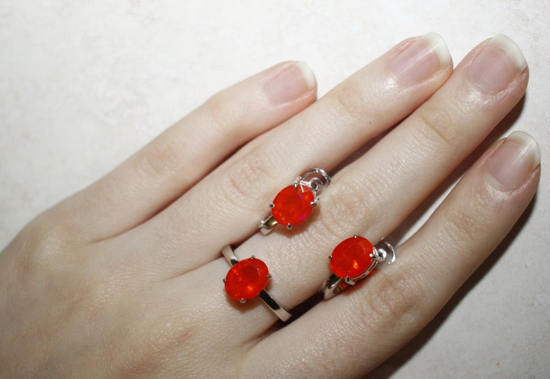 Mexican Fire Opal Set Sterling Silver Jewelry Set Orange Opal Simple Ring and Earrings Rare Natural Opal and Silver Minimalism Jewellery