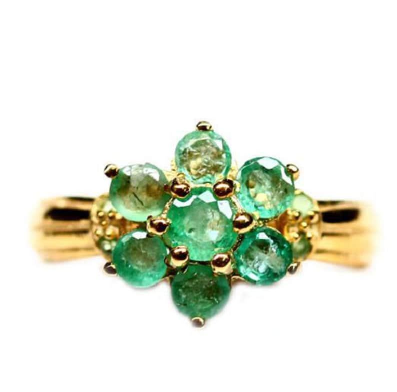 Flower Emerald Ring with 14K Gold Plated Emerald Jewelry Gift for Her Sterling Silver Ring Floral Green Stone Ring