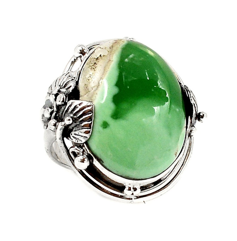 Green Stone Ring Green Variscite Ring Gift for Nature Lovers Silver Leaf Ring Nature Inspired 925 Silver Jewery with Rare Stone