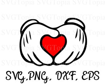 Mickey Hands Making a Heart SVG PNG EPS Dxf Clip Art for Teachers for Die Cut Machines like Cricut and Silhouette Cut File Cuttable File