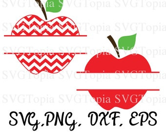 Split Apple Fruit SVG PNG EPS Dxf Clip Art for Teachers for Die Cut Machines like Cricut and Silhouette Cut File Cuttable File
