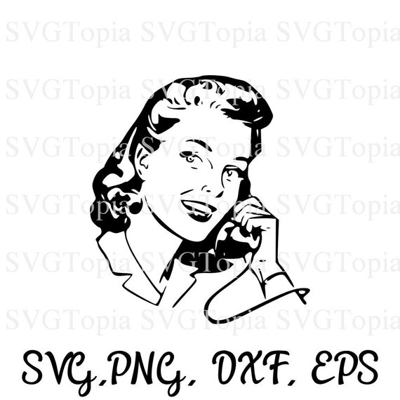Retro Phone Woman Svg Eps Dxf Clip Art For Die Cut
