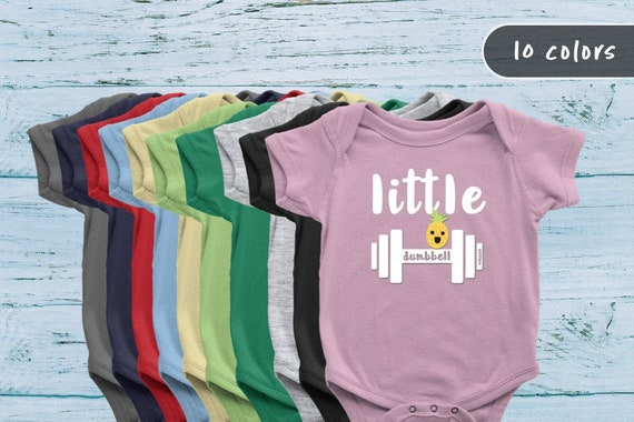 Little Dumbell Baby Grow Workout Set Little weights #Pineapple Baby Grow for Girls  Boys with Mom