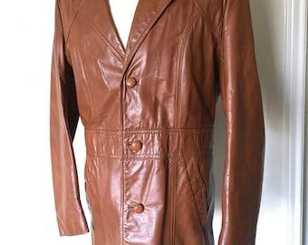 f6bd3a6120 JEFFERY Vtg WESTERN Leather Blazer JACKET Car Coat Mens L large Size 42  Brown