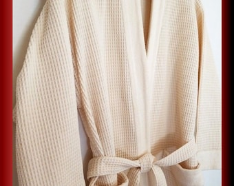 L'Occitane sumptuos bathrobe ivory waffle weave cotton made in France