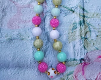 Adult/Child Mint, Pink, White and Gold Bubblegum Necklace