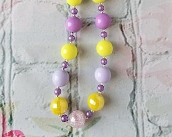 Yellow, Lavender and Purple Bubblegum Necklace