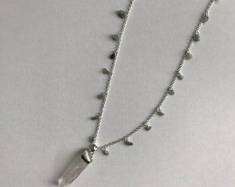 Quartz Dagger Necklace W/ Green Aventurine Chips