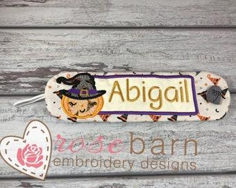 Digital Pumpkin Witch Mug Wrap, Machine embroidery, ITH,