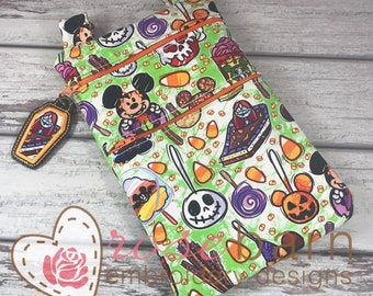 Digital Double Zipper bag, ITH Project, embroidery design, machine embroidery