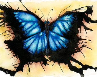 Butterfly, print from original watercolor and pen illustration by Amy Cathryn