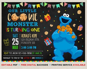 Cookie monster invitation etsy cookie monster birthday invitation cookie monster invitation template cookie monster thank you card cookie monster instant download filmwisefo