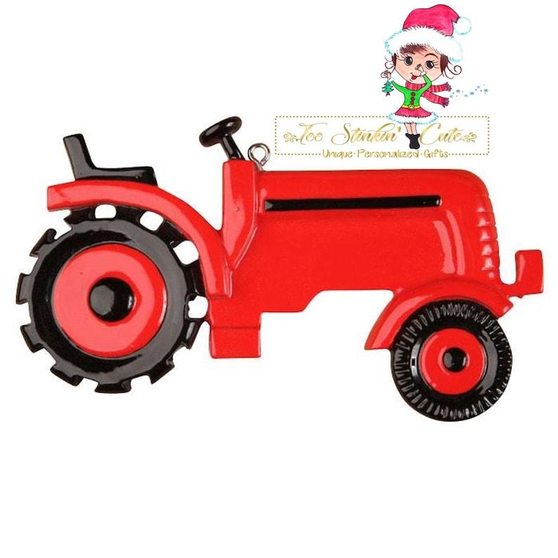 Free Shipping! Personalized Christmas Ornament Red Tractor Equipment Farm Farmer Boys Kids