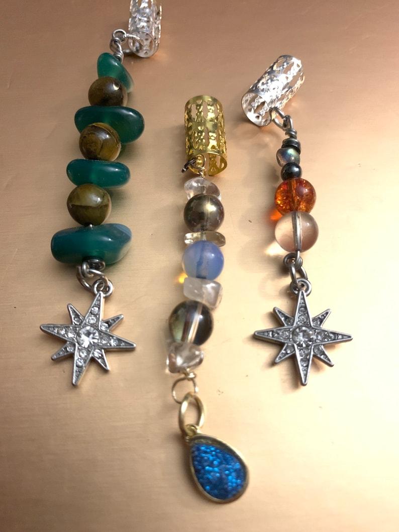Star and geode locbraid charm set