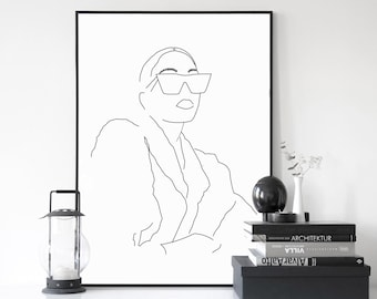 Contour Line Drawing Rose : Line drawing etsy