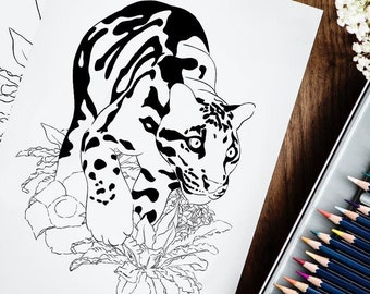 Downloadable coloring book, Wild Animals, 10 PDF