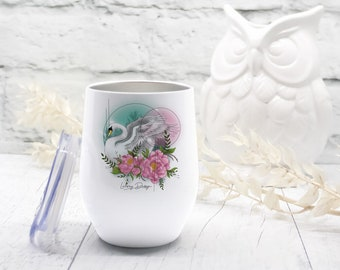 Isotherm wine glass, Swan, lake, flowers, wine and coffee, 10oz