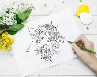 Images à colorier, téléchargeables, Licornes et Paresseux