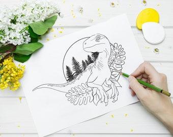 Images à colorier, téléchargeables, Tricératops, Vélociraptor et T-Rex