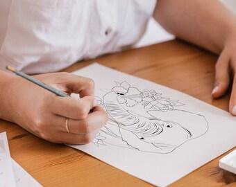 Images à colorier, téléchargeables, Éléphant et Rhinocéros