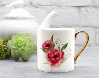 Porcelaine vintage look mug, red poppies, 8oz